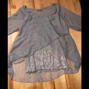 Tops - grey sparkly tank with grey silk overlay top
